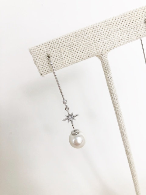 Star Studded Pearl Drop - SILVER