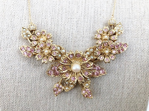 Pink Vintage Rhinestone and Pearl Statment Necklace