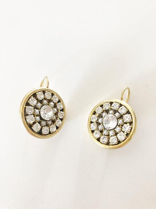 Rhinestone Bezel Earrings - GOLD