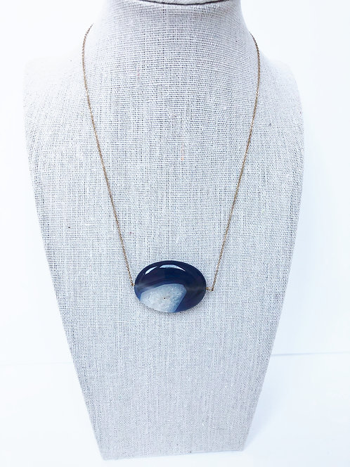 Smooth Blue Agate Pendant Necklace