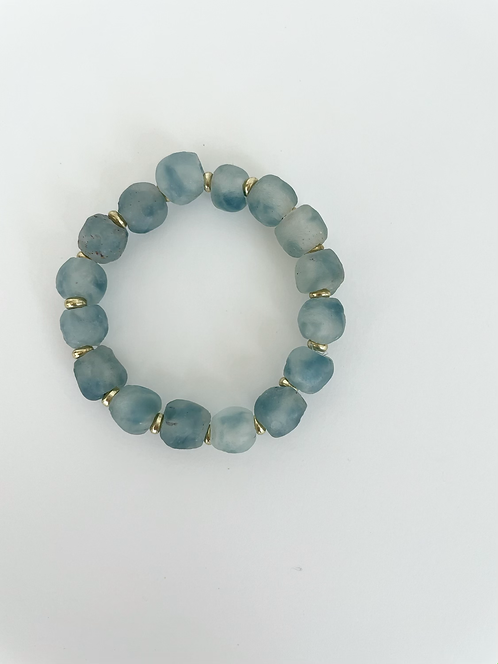 TURQUOISE Recycled Sea Glass Elastic Stack On Bracelet