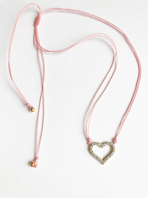 Pave Heart Loop Necklace - Gold/Candy Pink