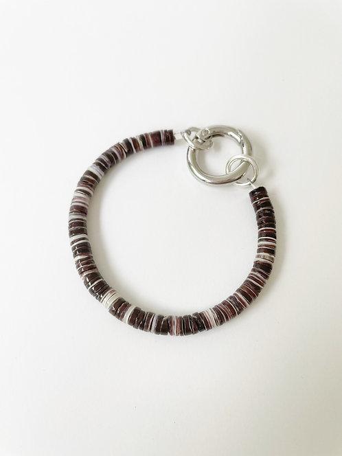 Crushed Black Shell Silver Clasp Bracelet