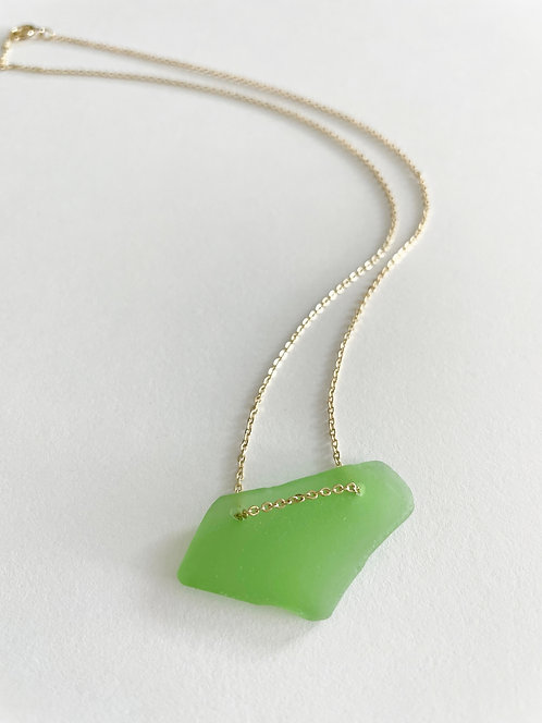 KELLY GREEN #1 Beach Glass Lace Up Necklace - Gold