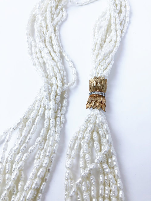 Vintage Faux Multi Strand Rice Pearl Necklace