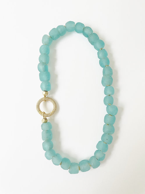 TURQUOISE Recycled  Sea Glass Necklace with Luxe Clasp