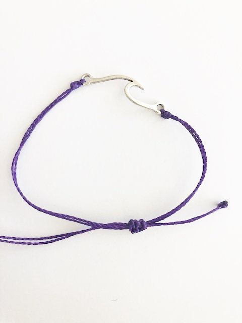 Marin Wave Bracelet - SILVER - awareness purple