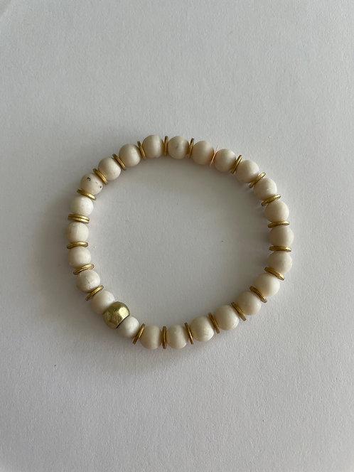 Agate & Gold Stack On Elastic Bracelet
