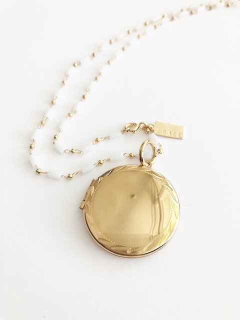 GRACE etched Locket on Vintage Beaded Chain