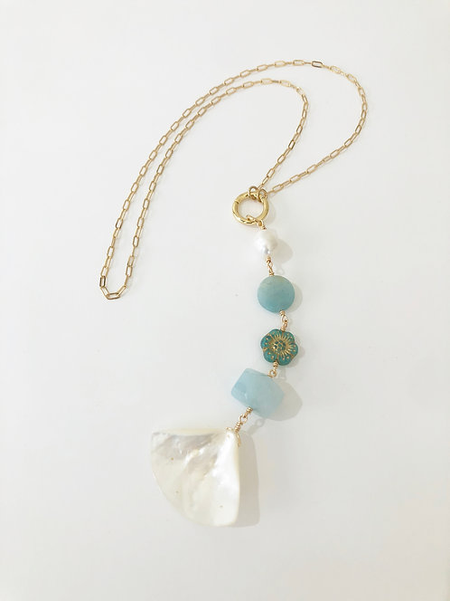 AQUA Treasure Trove Necklace Layering Charm Chain 2 in 1