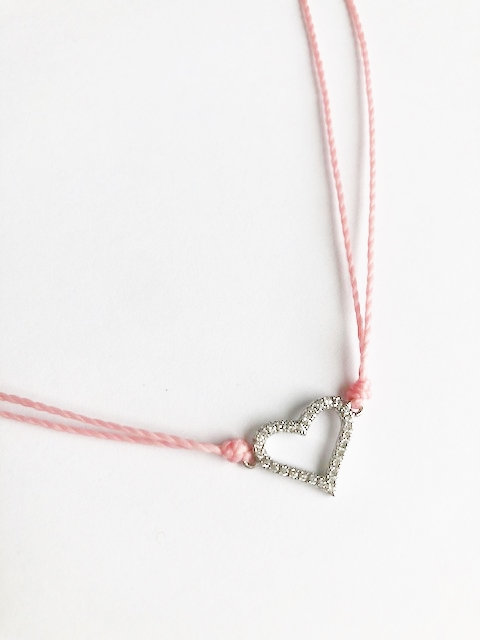 Pave Heart Loop Necklace - Silver/Candy Pink