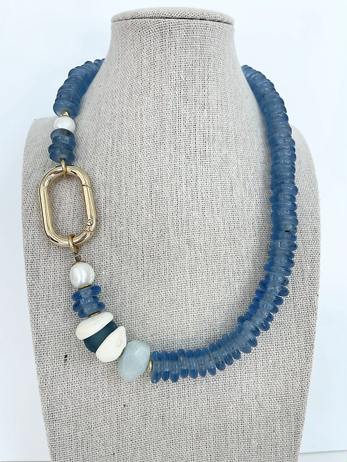 Recycled Sea Glass Necklace with Ancient Shell & Pearl Accents - Marine Blue