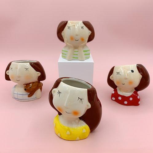 GP218 | glazed pots | Nordic style| little girls pot | a set of 4