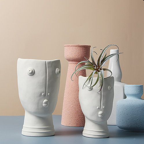 GP265 | glazed pots | Nordic Style | Abstract Face