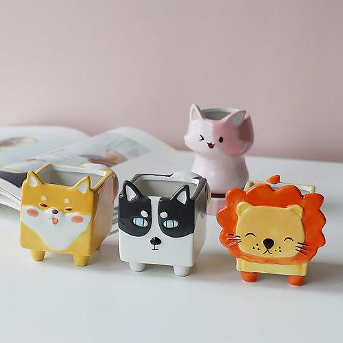 GP296 | glazed pots | Owl Pot | a set of 3