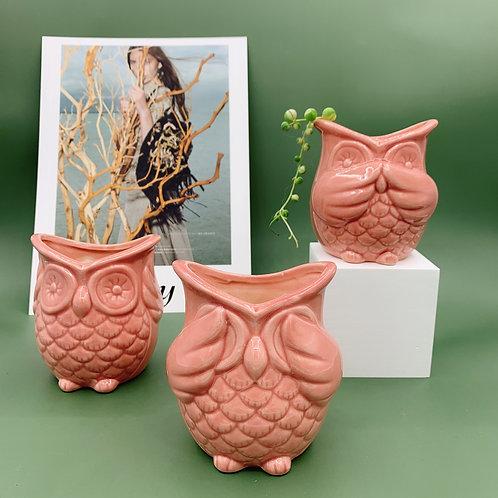 GP275 | glazed pots | Owl Pot | a set of 3
