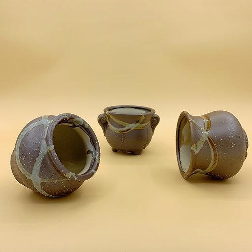 GP232| glazed pots | Nordic style| brown pot | a set of 3