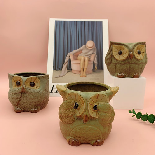 GP271 | glazed pots | Owl Pot | a set of 3