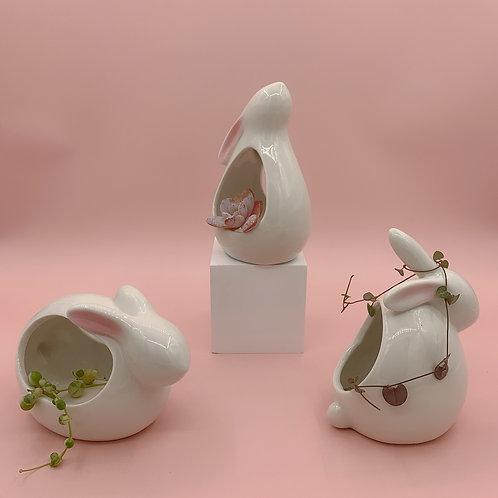 GP222 | glazed pots | Nordic style| white rabbit pot | a set of 3