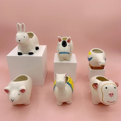 GP217 | glazed pots | Nordic style| white animal