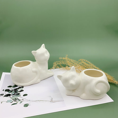 GP252  glazed pots   Nordic style  cat pot   a set of 2