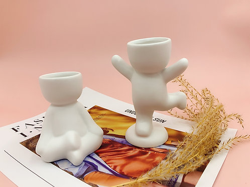 GP298  glazed pots   dancing man   a set of 2