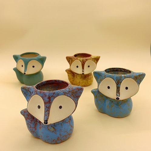 GP231| glazed pots | Nordic style| fox pot | a set of 4