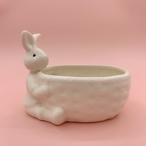 GP224 | glazed pots | Nordic style| rabbit with basket