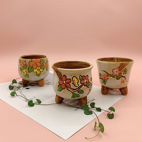GP268 | glazed pots | Retro Flower pot | a set of 3 | White