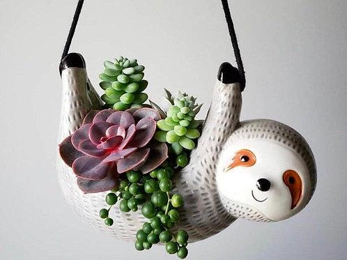 GP313| Hanging planter | sloth pot for air plant | Handmade pot | grey animal