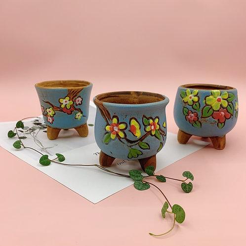 GP270 | glazed pots | Retro Flower pot | a set of 3 | Blue