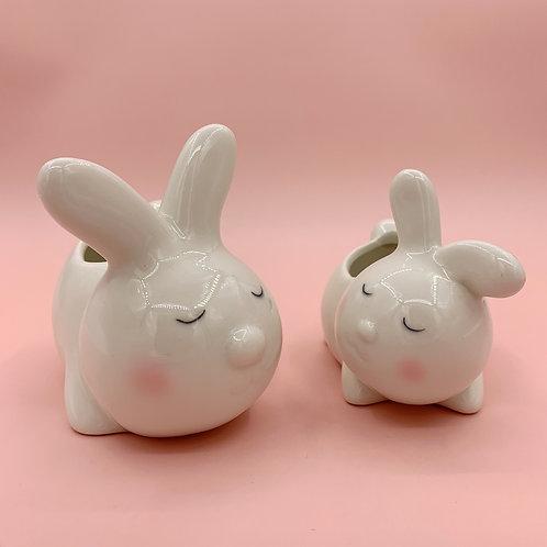 GP225 | glazed pots | Nordic style| white rabbit pot | a set of 2