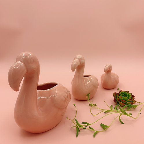 GP213 | glazed pots | Nordic style| Flamingo pot | a set of 3