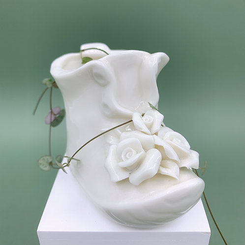 GP174 | glazed pots | minimalist style | white shoe succulent pot
