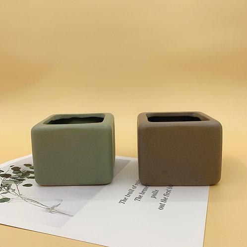 GP242| glazed pots | Nordic style| cube pot | a set of 2