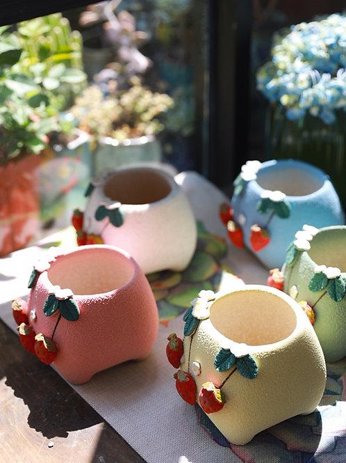 GP106 | glazed pots | strawberry pots | 5 colors | handmade