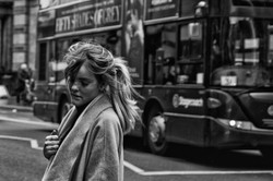 Blonde, pony tail and bus
