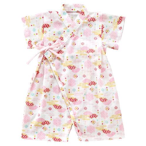 Jinbei Romper - Pink Fan Pattern