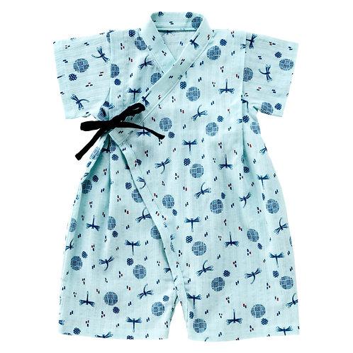 Jinbei Romper - Polka Dot Dragonfly Pattern