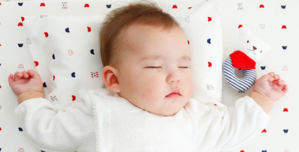 Baby Napping on Travel Mattress Set