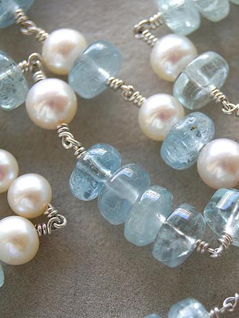Silberkette mit Aquamarin und Perlen_bea
