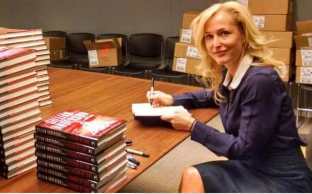 Gillian at a book signing for A Vision of Fire
