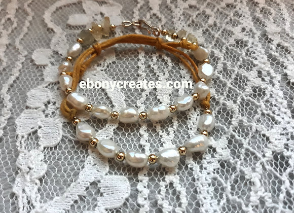 14 Karat Gold Filled Bracelet With fresh Water Pearls and Citrine