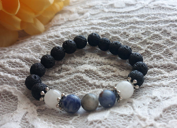Sodalite and Moonstone Aromatherapy Bracelets Made with Lavastone