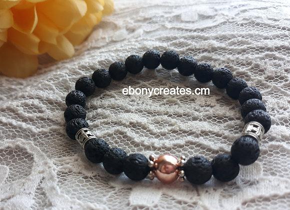 Rose Gold Hematite and Lava Stone Aromatherapy Bracelet