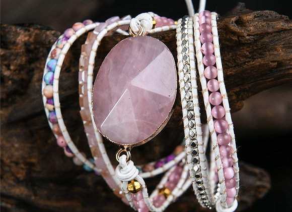 Women Wrap Bracelets-Natural Rose Quartz With 5 Layers-Leather