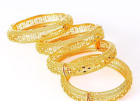 Ethiopian Bracelets&Bangles-Wedding Jewelry-African Gold Bangle With Charm