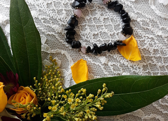 Black Obsidian and Rose Quartz Bracelet Pair