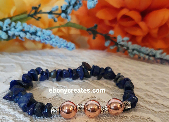 Lapis Lazuli and Rose Gold Hematite Bracelet