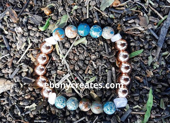 Blue Imperial Jasper and Rose Gold Hematite Bracelet